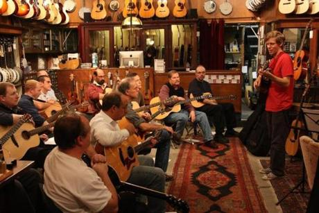 "Jeffrey Pepper Rodgers, far right, led his workshop, ""Grateful Dead for Acoustic Guitar,"" at the Music Emporium in Lexington in 2013."